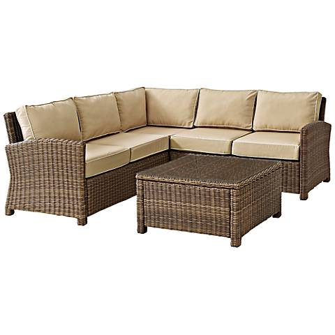 Bradenton Sand 4-Piece Outdoor Seating Sectional Patio Set