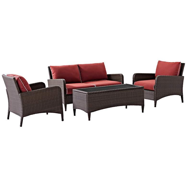 Kiawah Sangria 4-Piece Outdoor Wicker Seating Set