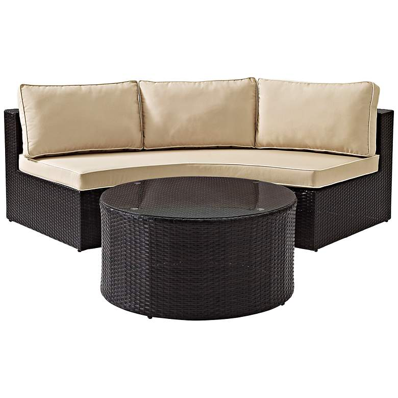 Catalina Sand 2-Piece Outdoor Wicker Sectional Sofa Set