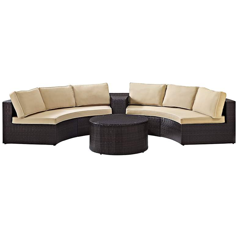 Catalina Sand 4-Piece Outdoor Wicker Sectional Sofa Set