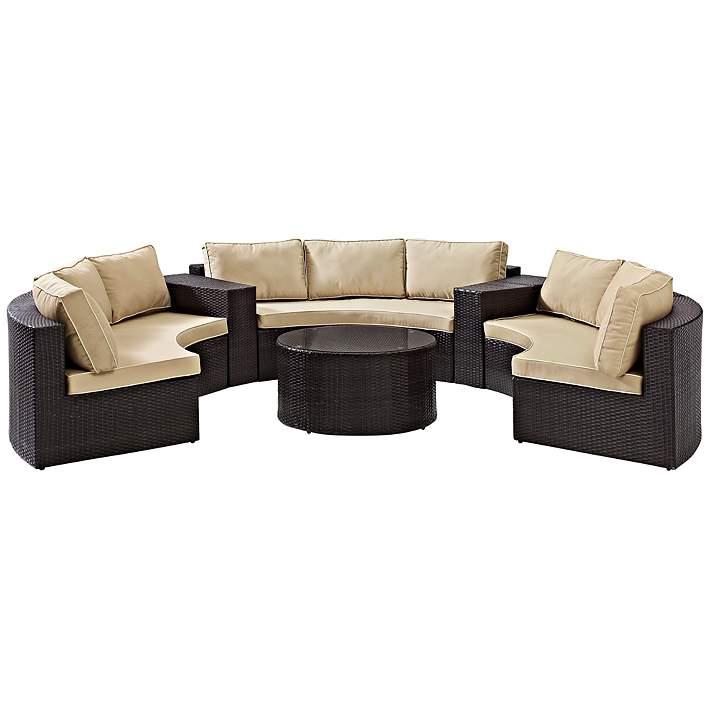 Catalina Sand 6-Piece Outdoor Sectional Sofa Patio Set