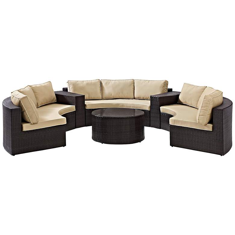 Catalina Sand 6-Piece Outdoor Sectional Sofa Patio Set