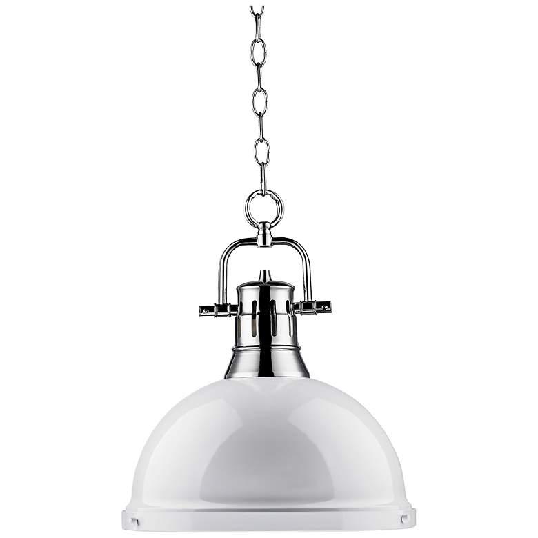 "Duncan Chrome 14"" Wide Contemporary White Pendant Light"