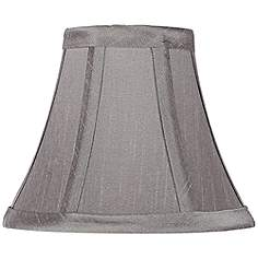 Gray clip on chandelier lamp shades lamps plus pewter gray bell lamp shade 3x6x5 clip on mozeypictures Gallery
