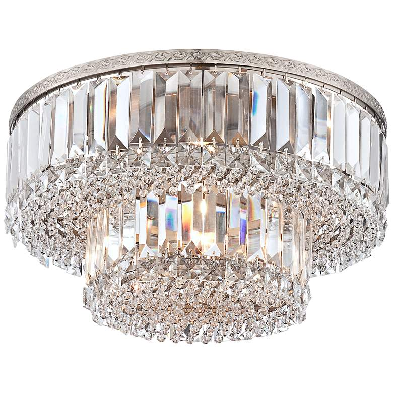 """Magnificence Satin Nickel 16"""" Wide Crystal Ceiling Light"""