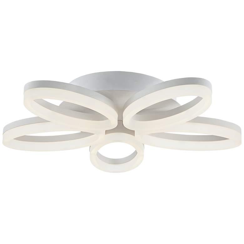 """Possini Euro White Bloom 21 1/2"""" Wide LED Ceiling Light"""