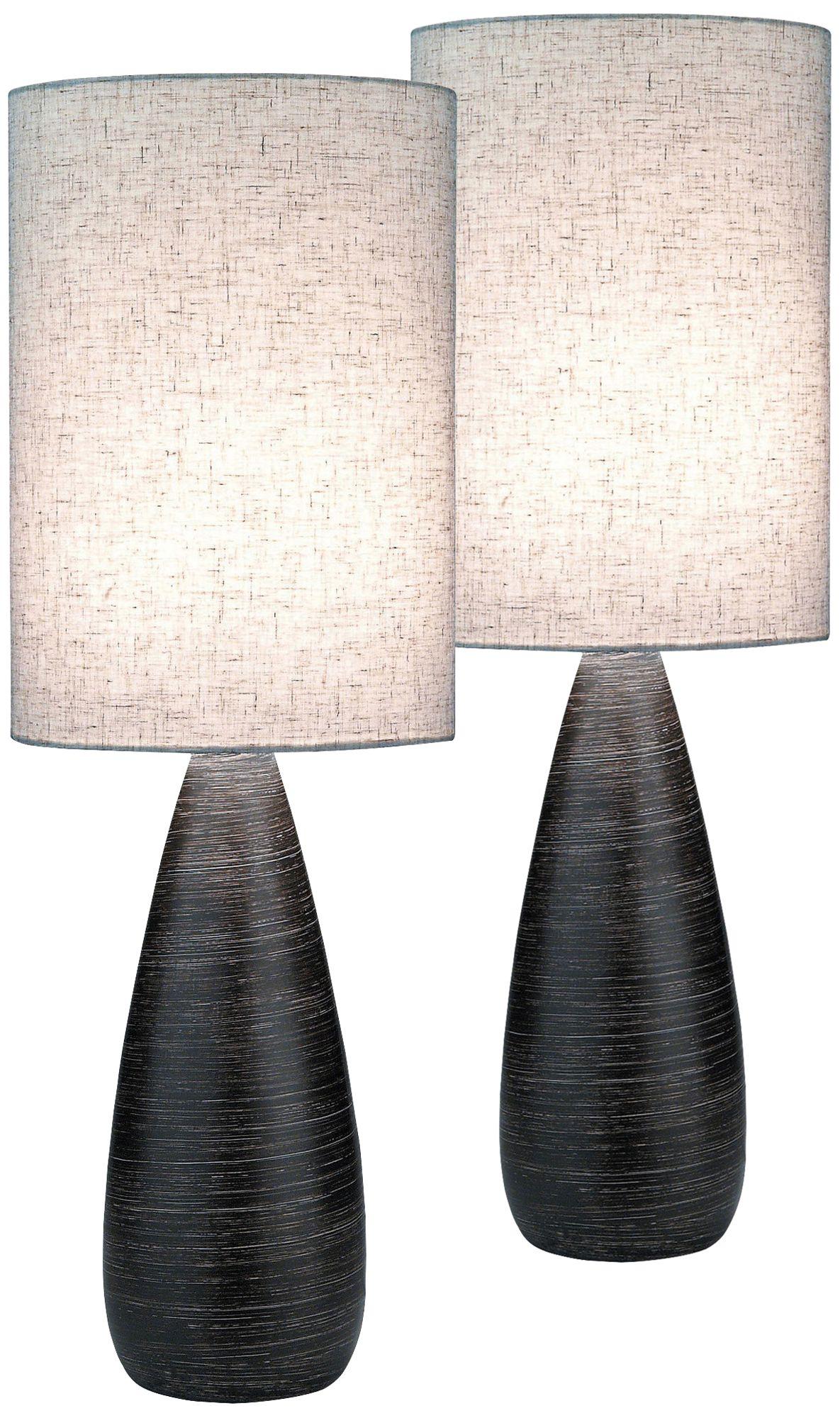 Superb Lite Source Quatro Dark Bronze Large Table Lamp Set Of 2