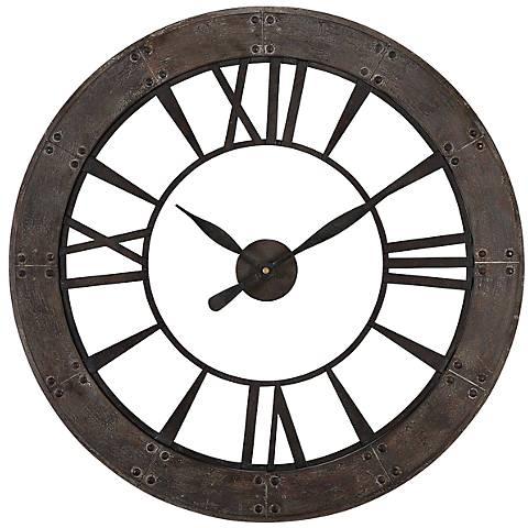 """Uttermost Ronan Dark Bronze 40"""" Round Wall Clock"""