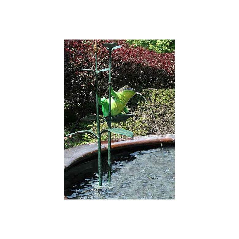 "Brass Baron Colorful Frog Pond 50""H Outdoor Fountain Accent"