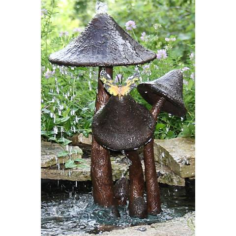 "Henri Studios 19"" High Mushrooms Bronze Pondless Fountain"