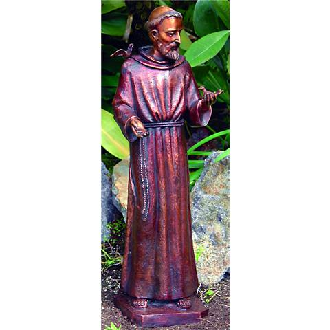 "Henri Studios St. Francis Bronze 31"" High Cast Brass Statue"