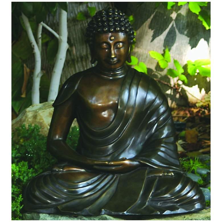 "Henri Studios Seated Buddha Bronze 18""H Cast Brass Statue"