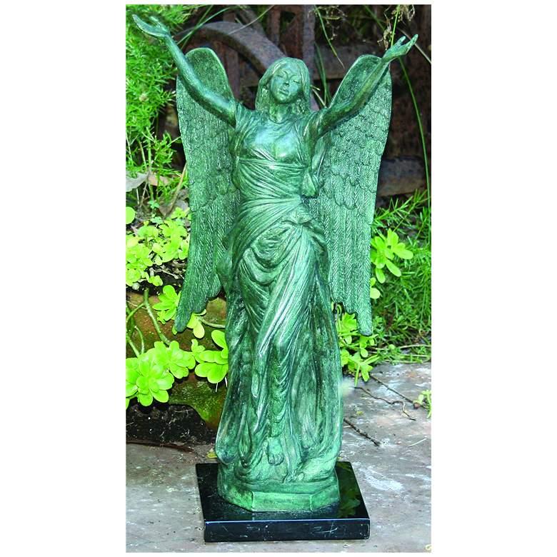 "Henri Studios Small Celestine Angel 18""H Cast Brass"