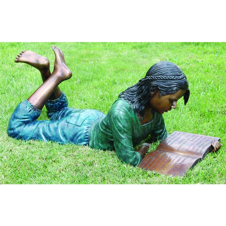 "Henri Studios Dorothy Bronze 42""W Cast Brass Outdoor Statue"