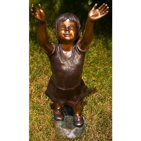 """Henri Studios Emma Bronze Cast Brass 32"""" High Outdoor Statue"""