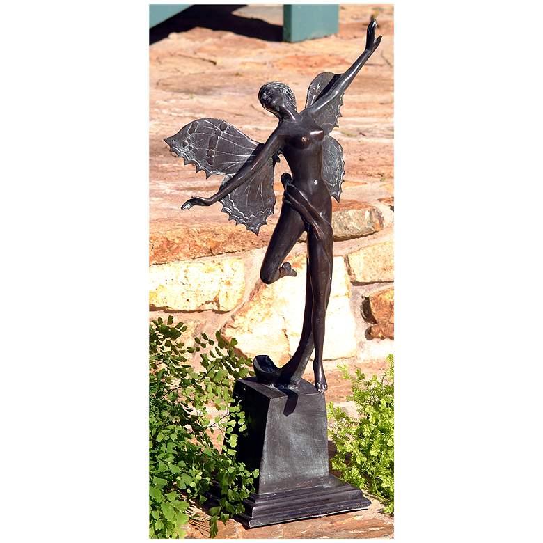 "Henri Studios Butterfly Fairy 19""H Verdigris Outdoor Statue"