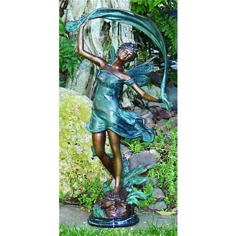 "Henri Studios Dancing Faerie 21""H Cast Brass Outdoor Statue"