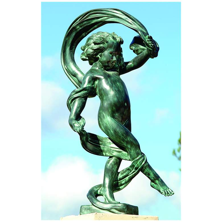 "Henri Studios Dancing in the Wind 36""H Cherub Outdoor Statue"