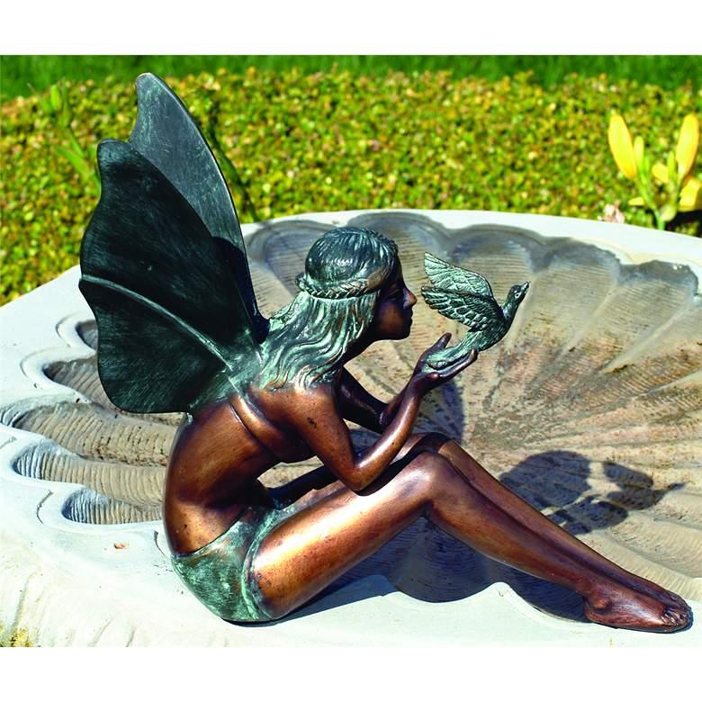 """Bird Fairy Bronze 11"""" High Cast Brass Outdoor Statue"""