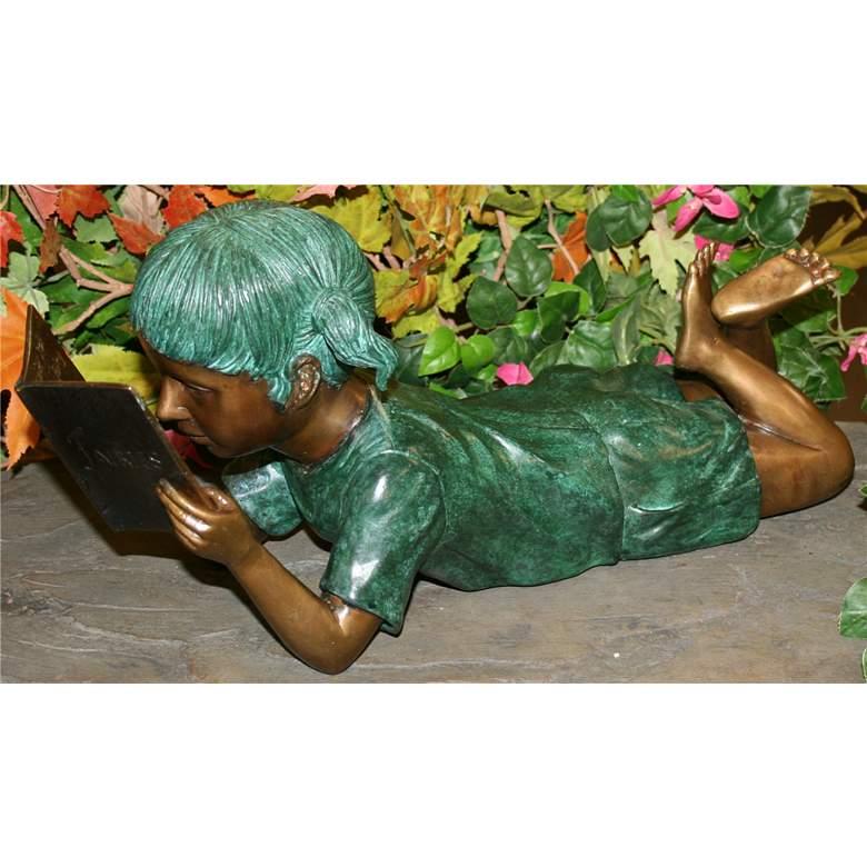 "Henri Studios Small Solitude Girl 17""W Brass Outdoor Statue"