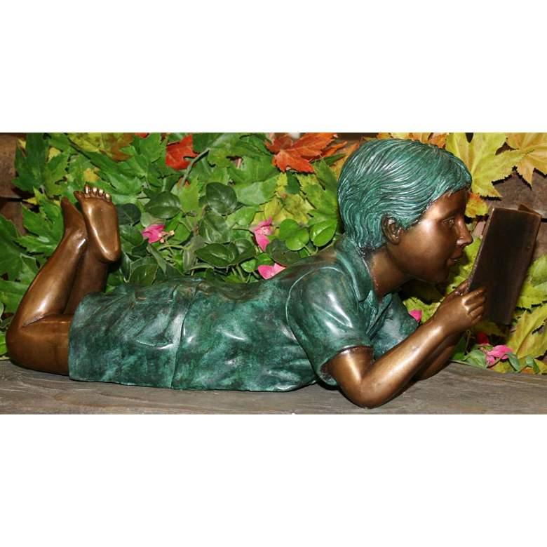 "Henri Studios Small Solitude Boy 17""W Brass Outdoor Statue"