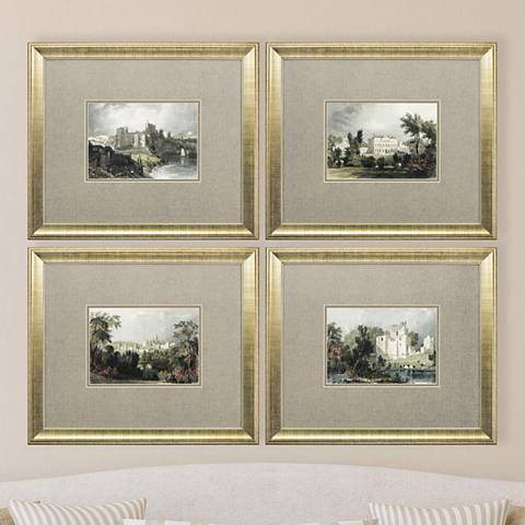 """Castles 4-Piece 19"""" High Framed Wall Art Set"""