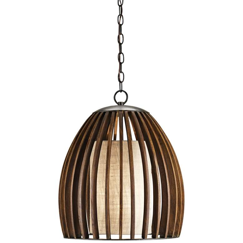 "Carling 17"" Wide Polished Fruitwood Pendant Light"