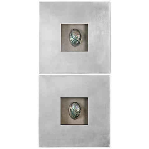"Uttermost Abalone Shells 20"" Square Wall Art Set of 2"