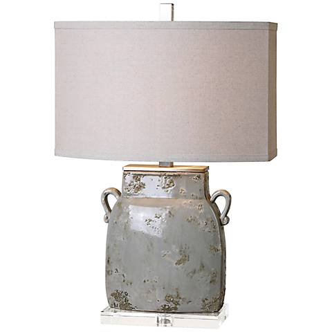 Uttermost Melizzano Ivory Gray Ceramic Jug Table Lamp