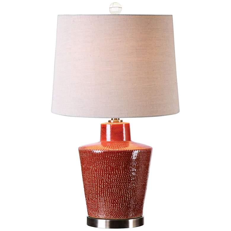 Uttermost Cornell Brick Red Ceramic Jug Table Lamp