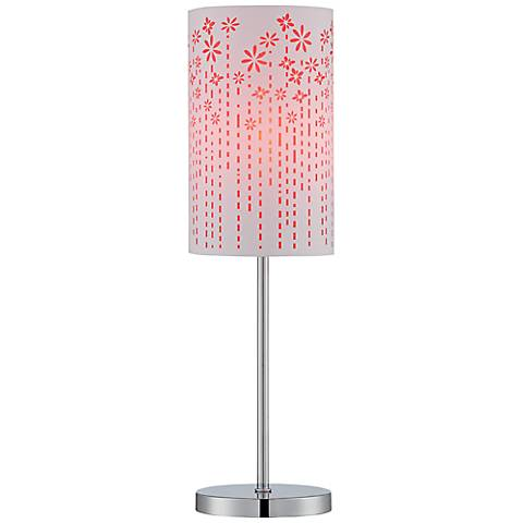 Lite Source Poppy Chrome Laser-Cut Red Table Lamp