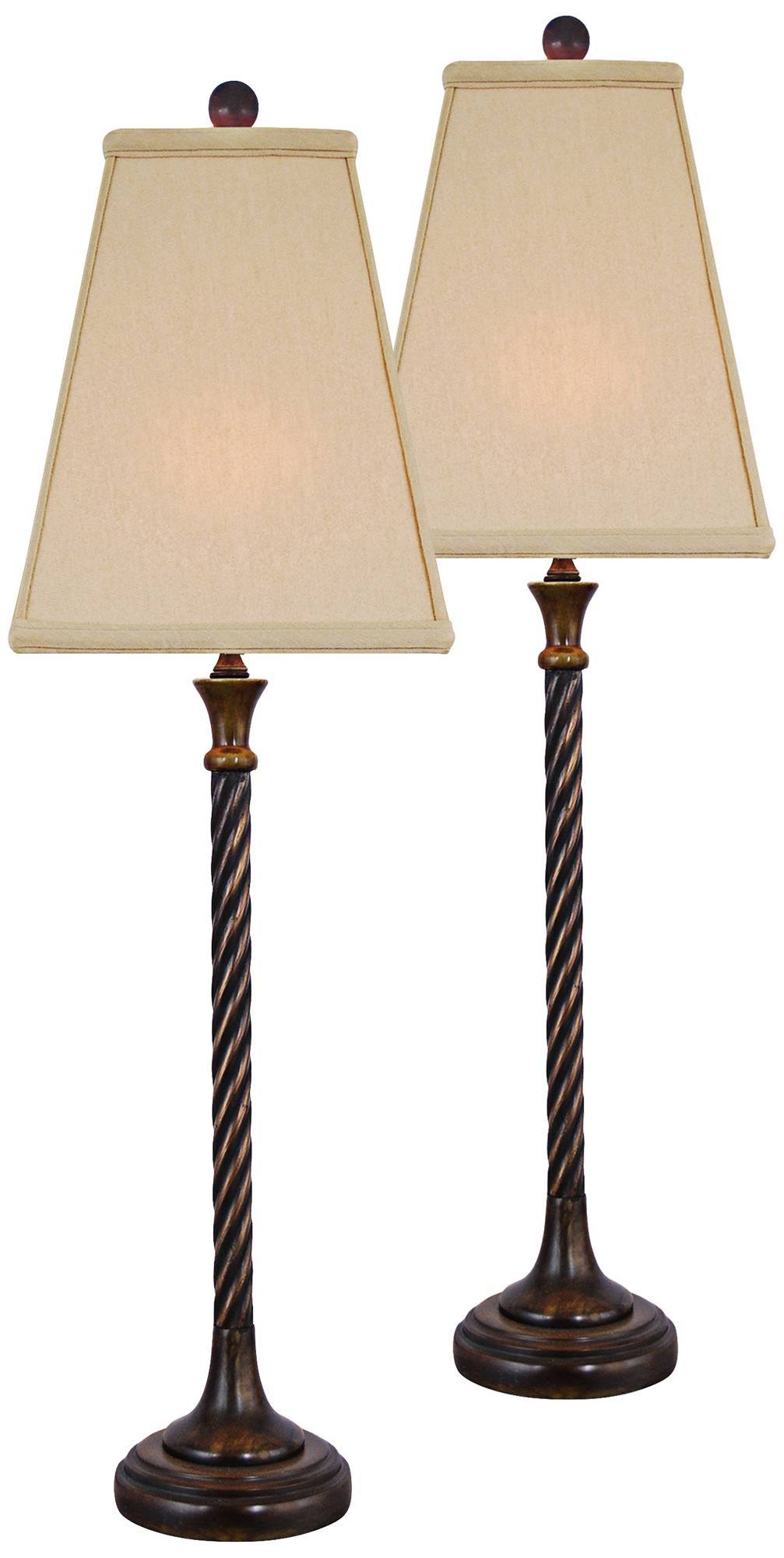 With a twist jade and brass buffet lamp set of 2