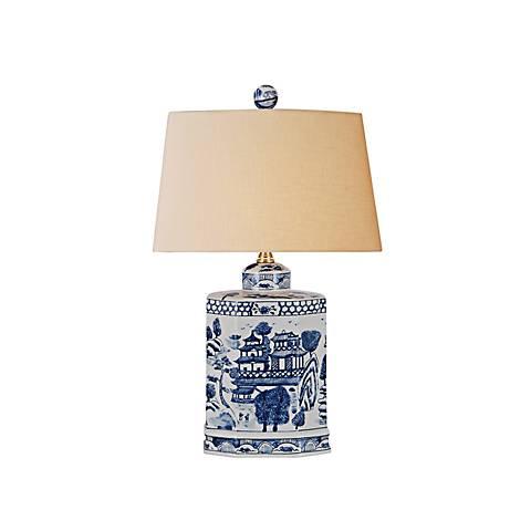 "Katanara 19""H Blue and White Porcelain Accent Table Lamp"