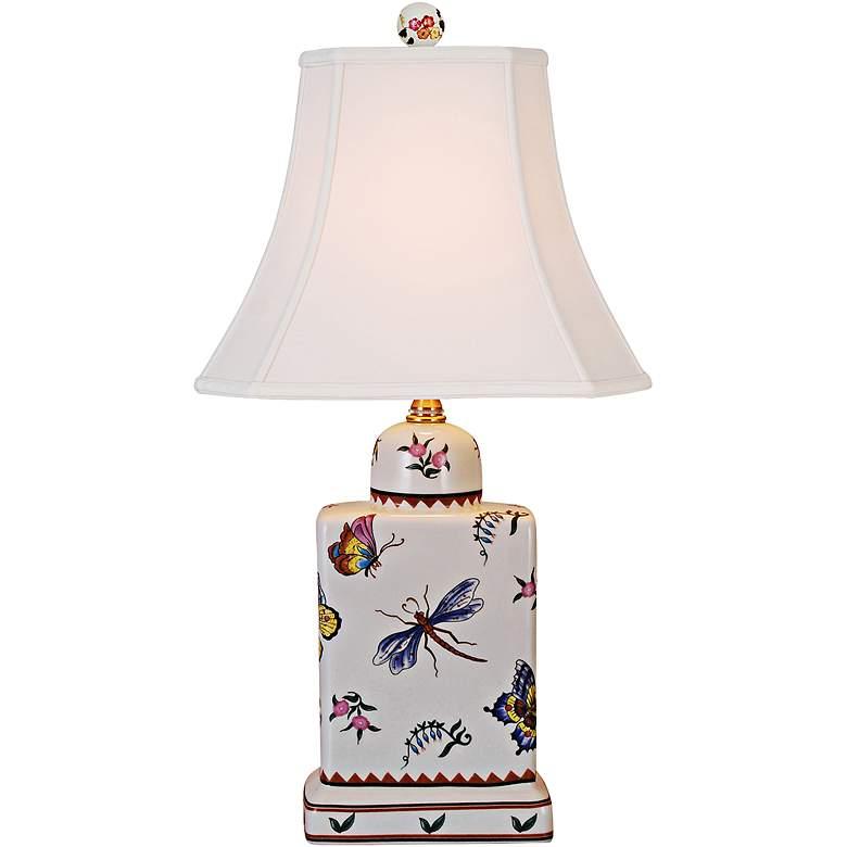 Butterfly Multicolor Porcelain Tea Jar Accent Table Lamp