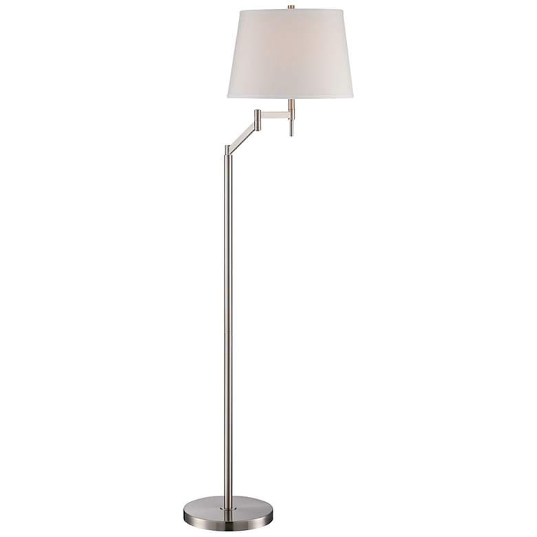 "Lite Source Eveleen 61"" High Swing Arm Floor Lamp in Silver"