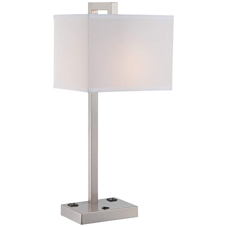 Lite Source Contento 2-Outlet Polished Steel Table Lamp