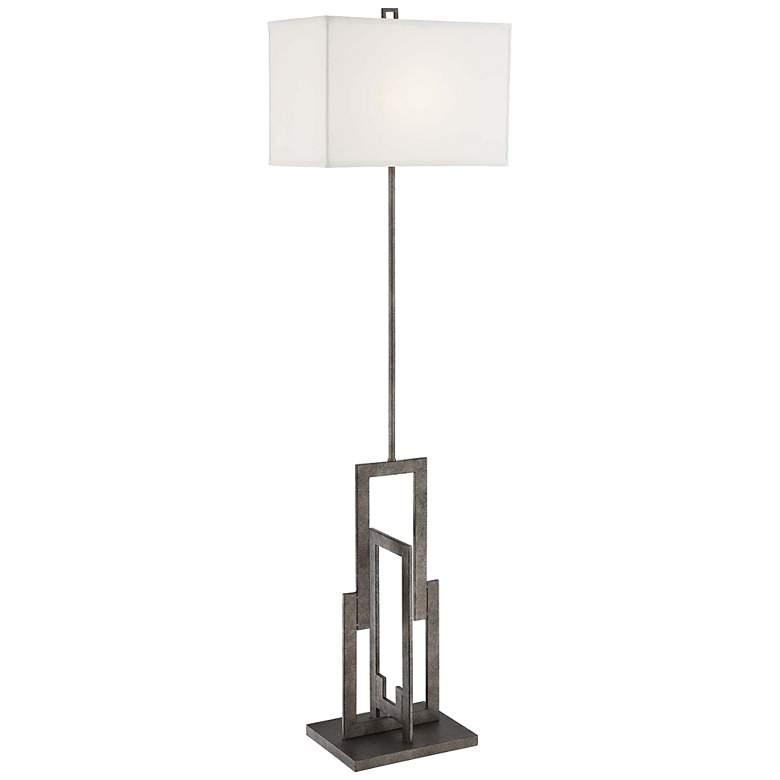 "Lite Source Mireya 60"" High Antique Silver Floor Lamp"