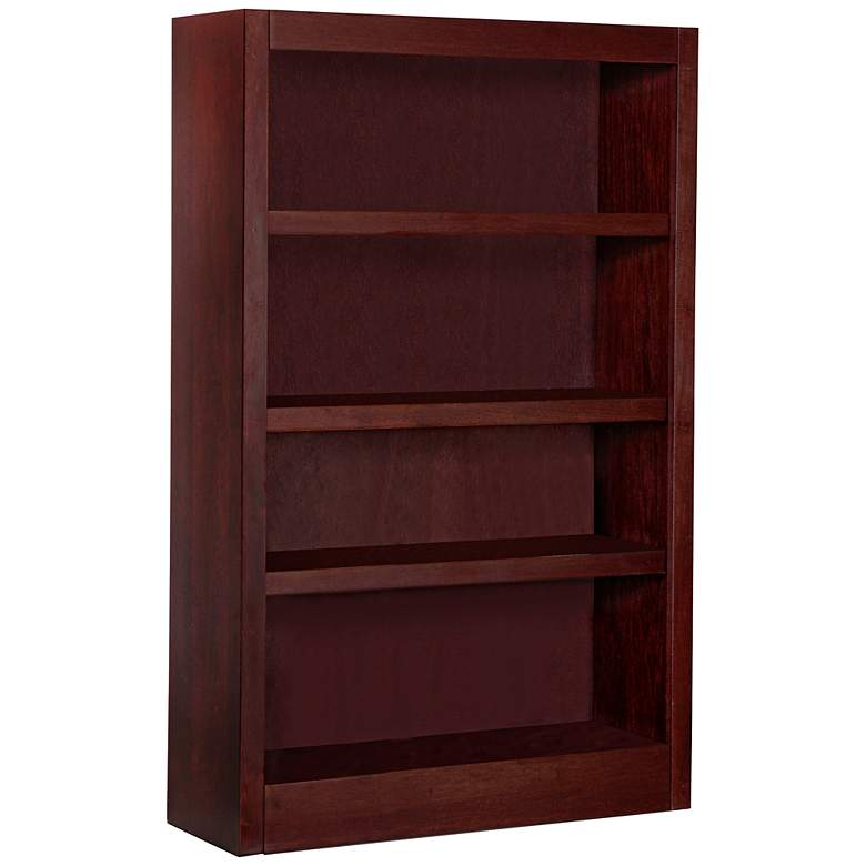 "Grundy 48"" High Cherry Single-Wide 4-Shelf Bookcase"