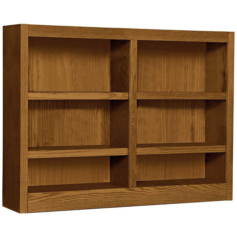 """Grundy 48"""" Wide Dry Oak Double-Wide 6-Shelf Bookcase"""