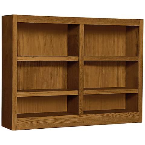 Grundy Dry Oak Double-Wide 6-Shelf Bookcase