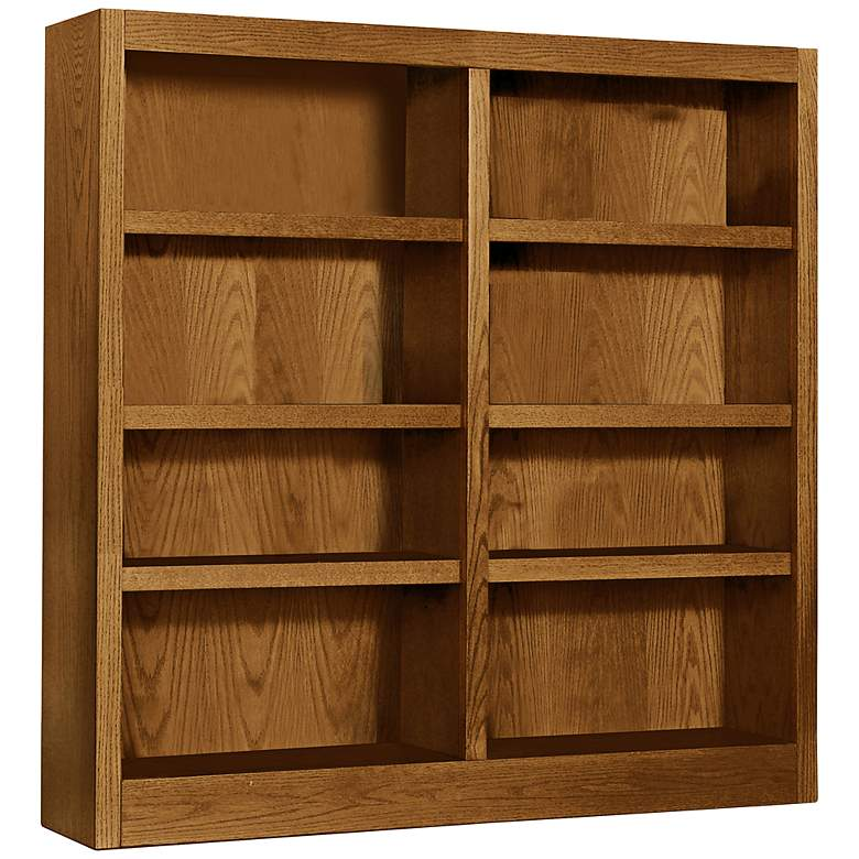 """Grundy 48"""" High Dry Oak Finish Double-Wide Bookcase"""