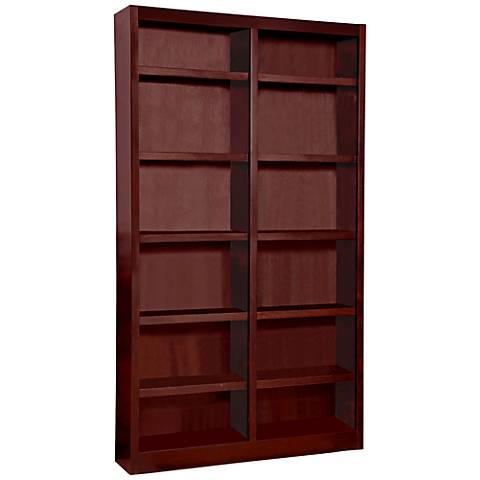 Grundy Cherry Double-Wide 12-Shelf Bookcase