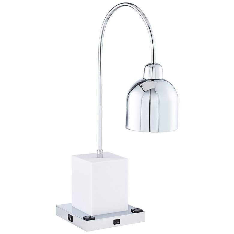 7P041 - Metal White and Silver Lamp with outlets & USB