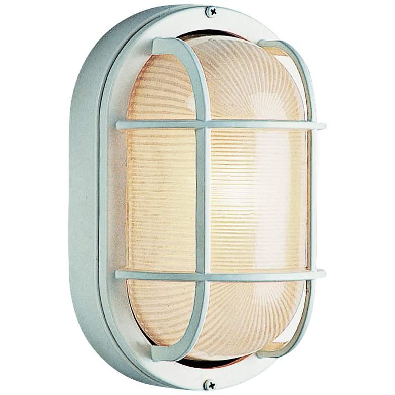 "Bulkhead 8 1/2"" High White Oval Grid Outdoor Wall Light"