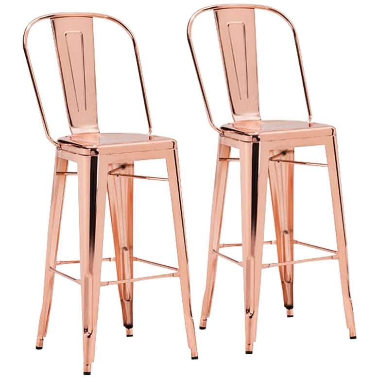"Zuo Elio 30"" Modern Rose Gold Bar Chair Set of 2"
