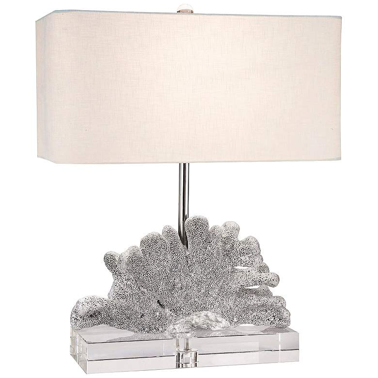 Couture Cat's Paw Coral Bold Silver Table Lamp