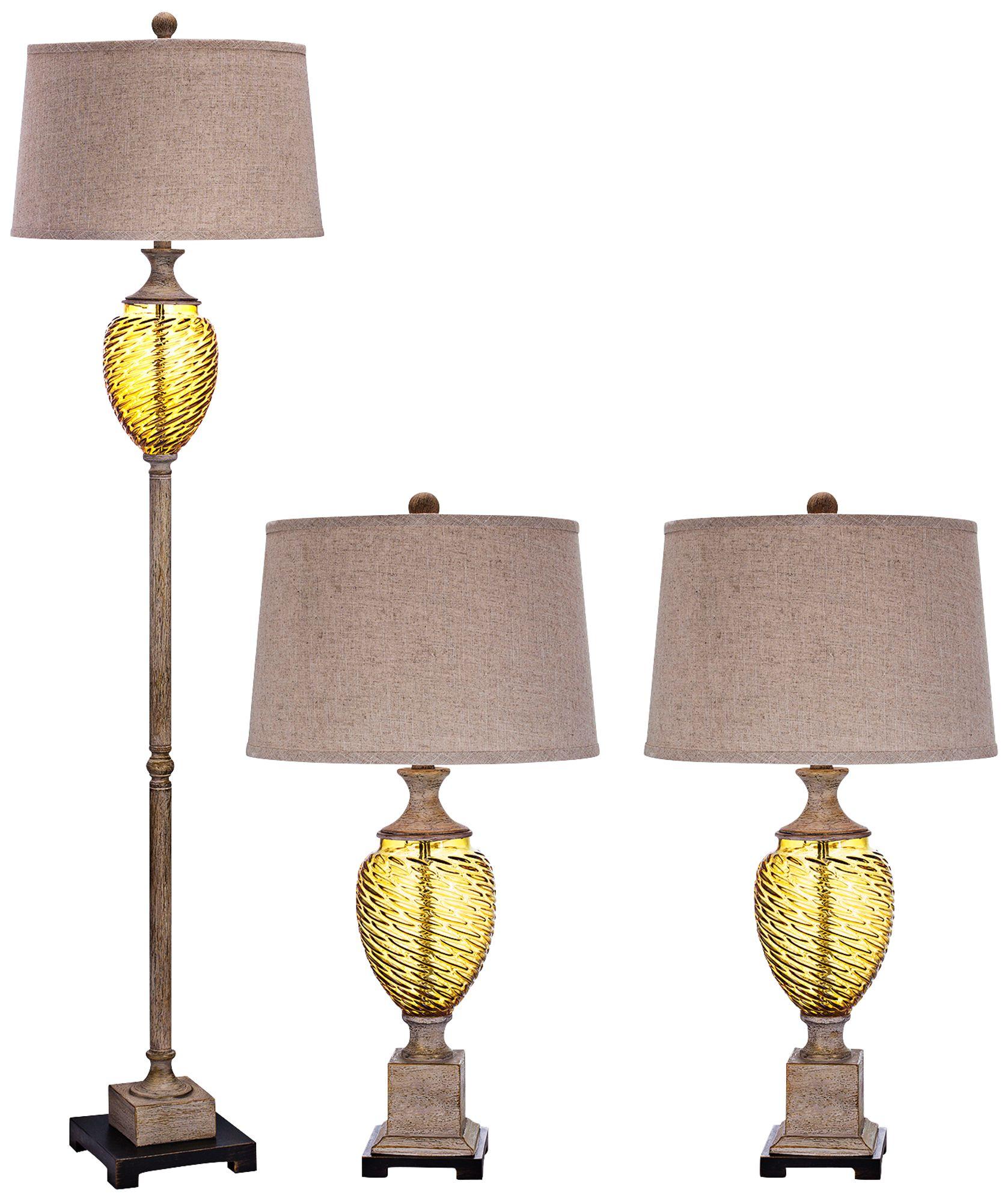 Carpio Amber Glass Metal Floor And Table Lamp Set