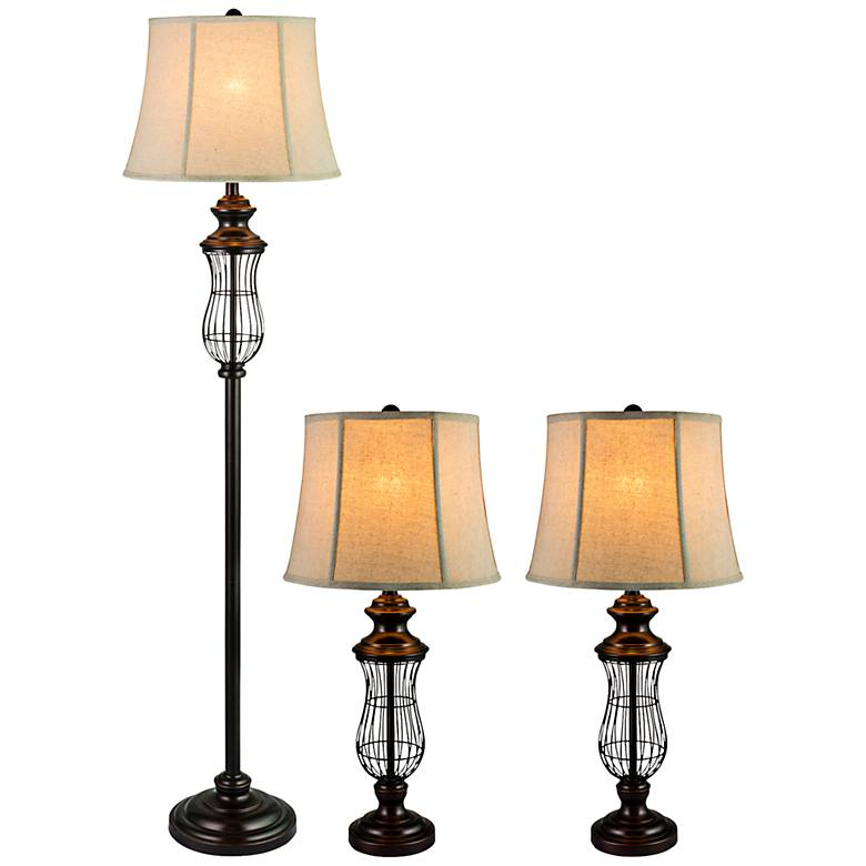 Whitsett Bronze Iron Floor and Table Lamp Set