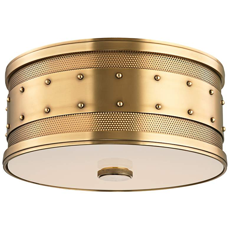 "Hudson Valley Gaines 12"" Wide Aged Brass Ceiling Light"