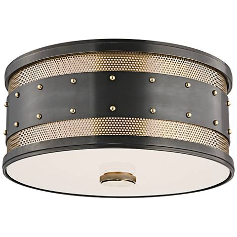 """Hudson Valley Gaines 12"""" Wide Old Bronze Ceiling Light"""